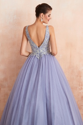 Gorgeous Lavender Lace Prom Dress | V-Neck Ball Gown Tulle Formal Wears_10