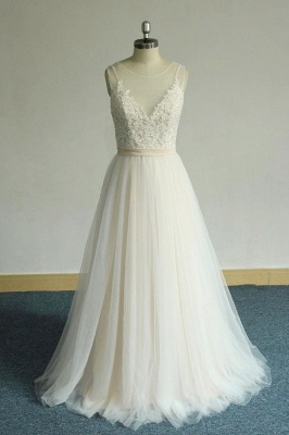Chic Straps Sleeveless Appliques Wedding Dress | A-line Tulle White Bridal Gowns_1