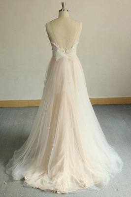 Affordable Jewel Sleeveless A-line Wedding Dress | Tulle Lace Bridal Gowns_5