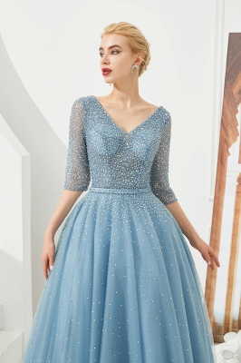 Dusty Blue V-Neck Half-Sleeve Prom Dress Long With Beadings Lace-up_5