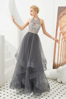 Stylish Halter Beaded Tiered Blackless Tulle Prom Dress_1