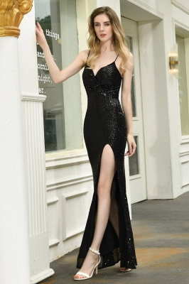 Sparkly Black Sequins Spaghetti Straps V-Neck Affordable Prom Dress_6