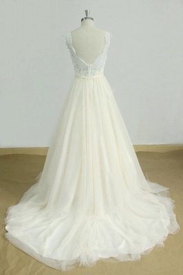 Elegant Lace Straps V-neck Appliques Wedding Dress | Tulle Ruffles A-line Bridal Gowns_3