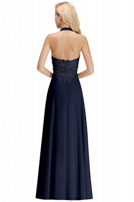 A-line Halter Chiffon Lace Bridesmaid Dress with Beadings On Sale_22