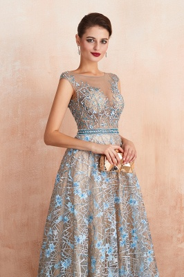 Designer Cap Sleeves Crystal Long Prom Dress With Blue Appliques_7