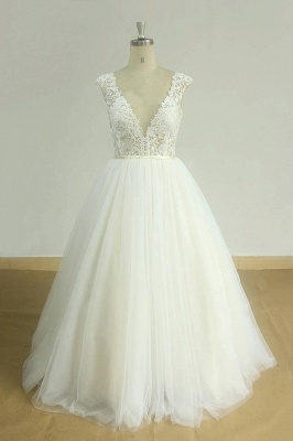 Chic V-neck Straps Tulle Wedding Dress | A-line Appliques Sleeveless Bridal Gowns