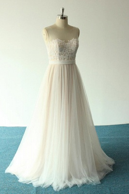 Affordable Jewel Sleeveless A-line Wedding Dress | Tulle Lace Bridal Gowns_4