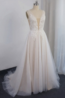 Glamorous V-neck Straps Sleeveless Wedding Dress | Appliques Tulle A-line Bridal Gowns