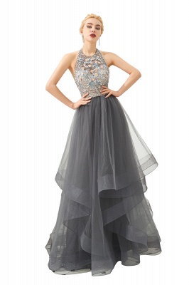 Stylish Halter Beaded Tiered Blackless Tulle Prom Dress_8