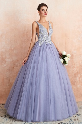 Gorgeous Lavender Lace Prom Dress | V-Neck Ball Gown Tulle Formal Wears_5