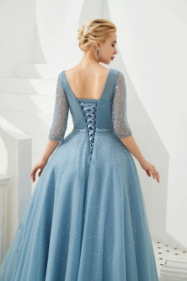 Dusty Blue V-Neck Half-Sleeve Prom Dress Long With Beadings Lace-up_10