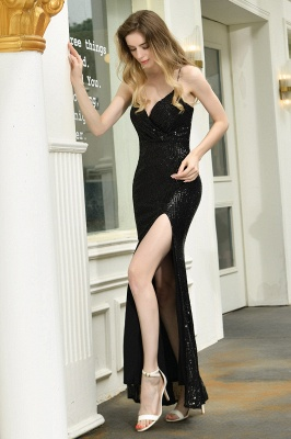 Sparkly Black Sequins Spaghetti Straps V-Neck Affordable Prom Dress_8