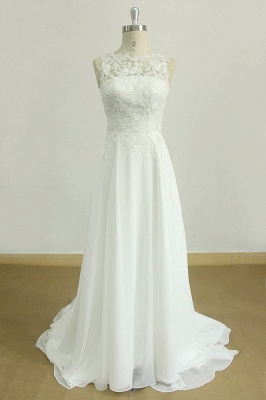 Glamorous Jewel Sleeveless Appliques Wedding Dress | Lace White Chiffon Bridal Gowns
