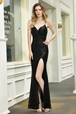 Sparkly Black Sequins Spaghetti Straps V-Neck Affordable Prom Dress_3
