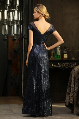 Navy Short Sleeve Sequins Prom Dress | Mermaid Long Evening Gowns_16