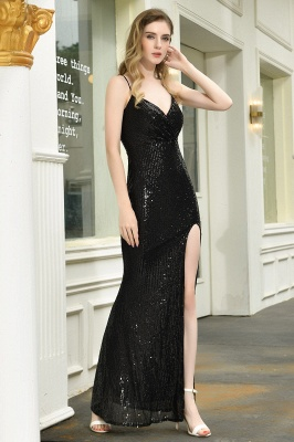 Sparkly Black Sequins Spaghetti Straps V-Neck Affordable Prom Dress_9
