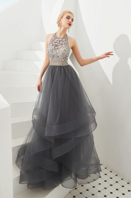 Stylish Halter Beaded Tiered Blackless Tulle Prom Dress_4