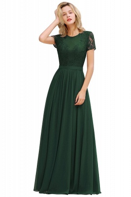 Chic A-line Chiffon Lace Bridesmaid Dress with Short Sleeves On Sale_3