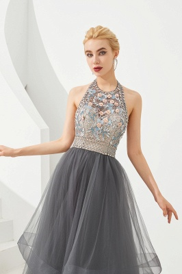Stylish Halter Beaded Tiered Blackless Tulle Prom Dress_3