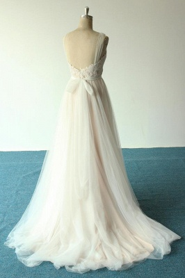 Affordable Jewel Sleeveless A-line Wedding Dress | Tulle Lace Bridal Gowns_3