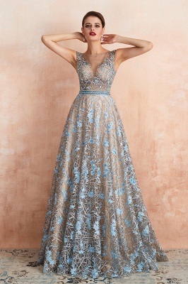 Designer Cap Sleeves Crystal Long Prom Dress With Blue Appliques_10