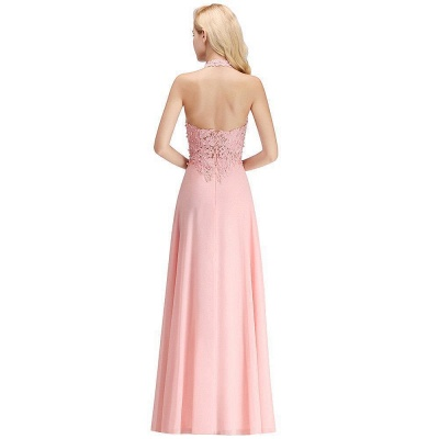 A-line Halter Chiffon Lace Bridesmaid Dress with Beadings On Sale_17