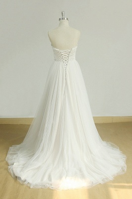 Sexy Sweetheart White Tulle Wedding Dress | Lace A-line Ruffles Bridal Gowns_3