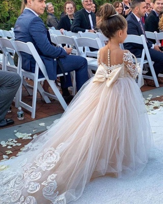 Princess Lace Tulle Flower Girl Dress With Sleeves On Sale_1