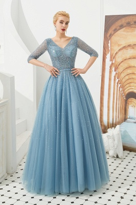 Dusty Blue V-Neck Half-Sleeve Prom Dress Long With Beadings Lace-up_6