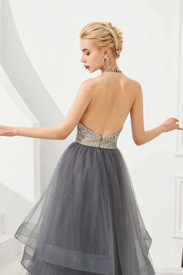 Stylish Halter Beaded Tiered Blackless Tulle Prom Dress_9
