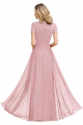 Chic A-line Chiffon Lace Bridesmaid Dress with Short Sleeves On Sale_6