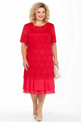 Lace Jewel Short Sleeves Tea Length Mother of Bride Dress