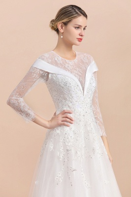 Gorgeous Long Sleeve Lace Wedding Dress | Appliques Bridal Gowns With Beadings_7