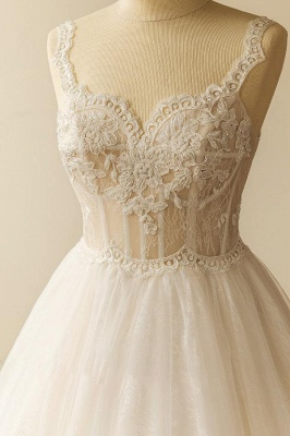 Gorgeous Straps Sleeveless Tulle Wedding Dress | A-line Appliques Lace Bridal Gowns_4