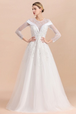 Gorgeous Long Sleeve Lace Wedding Dress | Appliques Bridal Gowns With Beadings_10