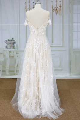 Stylish Spaghetti Straps Off-the-shoulder Appliques Wedding Dress | A-line Tulle Lace Bridal Gowns_3