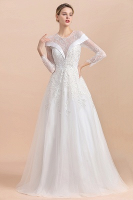 Gorgeous Long Sleeve Lace Wedding Dress | Appliques Bridal Gowns With Beadings_5