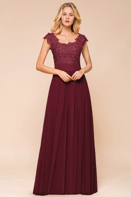 Elegant Long Chiffon Prom Dress With Lace Appliques