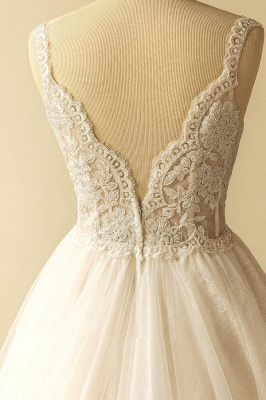 Gorgeous Straps Sleeveless Tulle Wedding Dress | A-line Appliques Lace Bridal Gowns_5