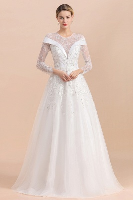 Gorgeous Long Sleeve Lace Wedding Dress | Appliques Bridal Gowns With Beadings_1