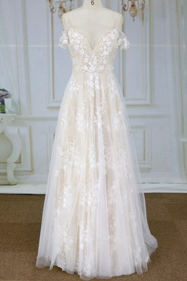 Stylish Spaghetti Straps Off-the-shoulder Appliques Wedding Dress | A-line Tulle Lace Bridal Gowns_1
