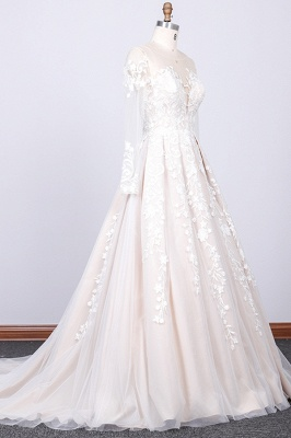 Gorgeous Longsleeves Jewel A-line Wedding Dress | White Appliques Lace Bridal Gowns_3