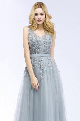 Stylish V-neck Tulle Lace Long Evening Dress in Stock_12