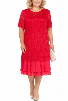 Lace Jewel Short Sleeves Tea Length Mother of Bride Dress_1