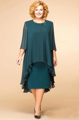 Elegant Chiffon Jewel 3/4 Sleeves Tea Length Mother of Bride Dress