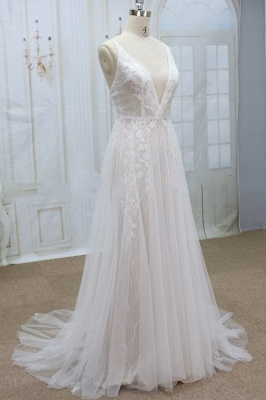 Sexy V-neck Straps Sleeveless Wedding Dress | Lace Appliques Tulle Bridal Gowns_4