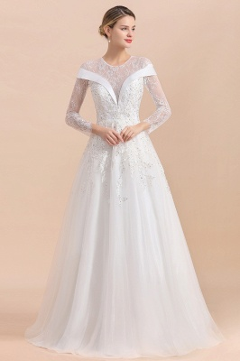 Gorgeous Long Sleeve Lace Wedding Dress | Appliques Bridal Gowns With Beadings_4