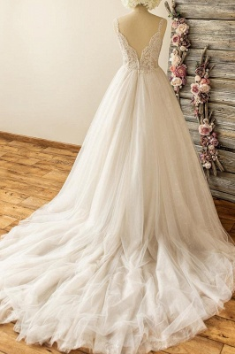 Gorgeous Straps Sleeveless Tulle Wedding Dress | A-line Appliques Lace Bridal Gowns_3