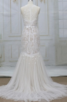 Unique Mermaid Lace Sleeveless Wedding Dress | Tulle Appliques Champgne Bridal Gowns_3