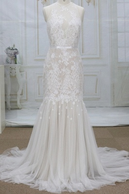 Unique Mermaid Lace Sleeveless Wedding Dress | Tulle Appliques Champgne Bridal Gowns